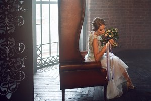 Young beautiful woman, wedding dress