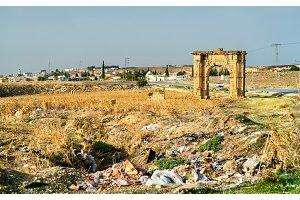 Ancient Roman Triumphal Arch in the Tunisian countryside near Dougga and Al Karib