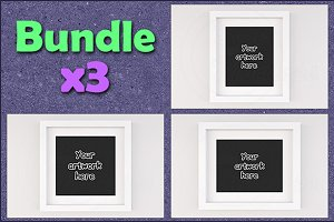 Mockup white picture frame BUNDLEx3