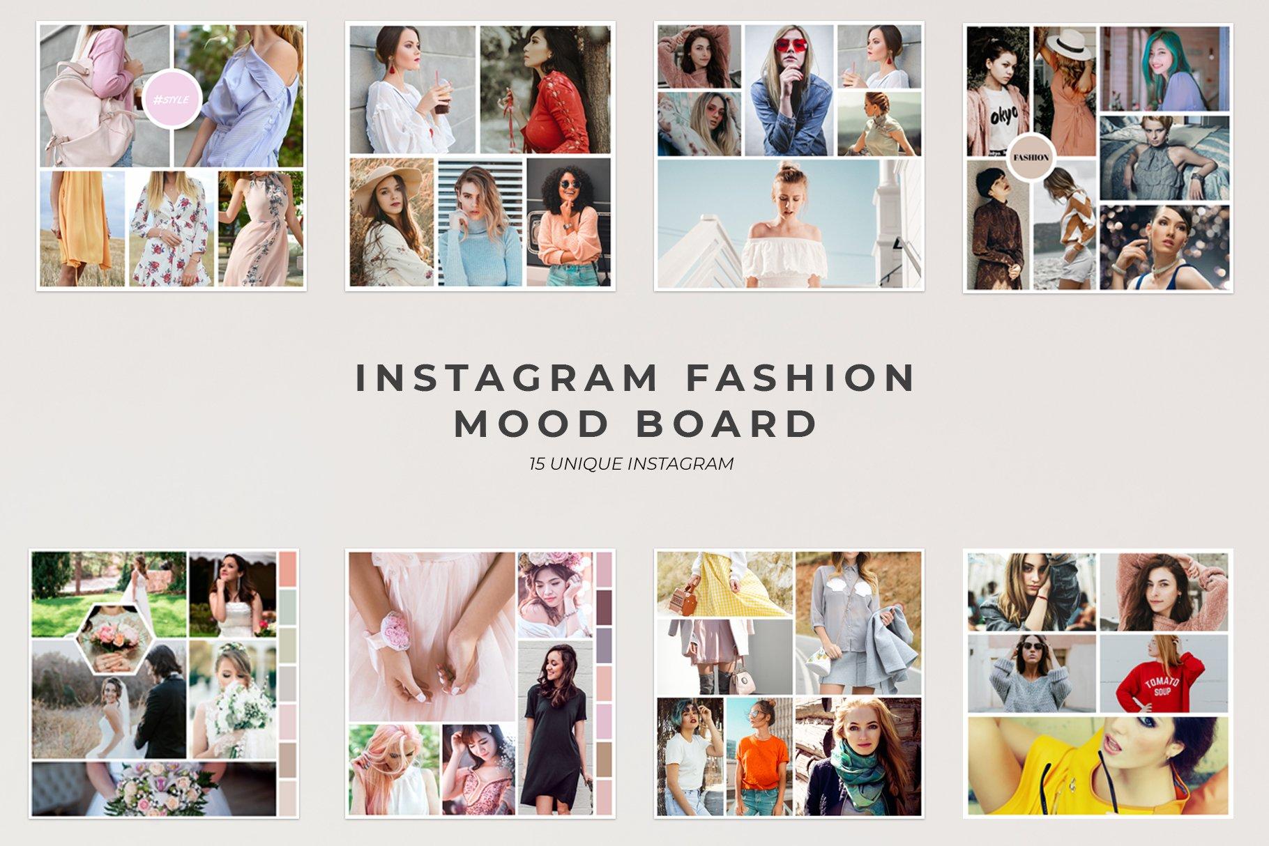fashion mood board template - instagram fashion mood board social media templates