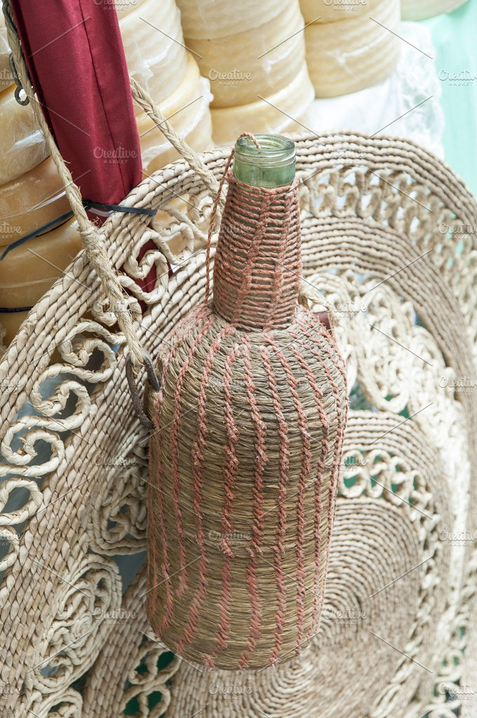 wicker bottle with cheese - Food & Drink