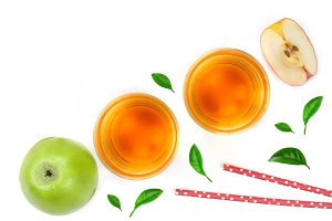 apple with juice and leaves isolated on white background top view with copy space for your text. Flat lay pattern