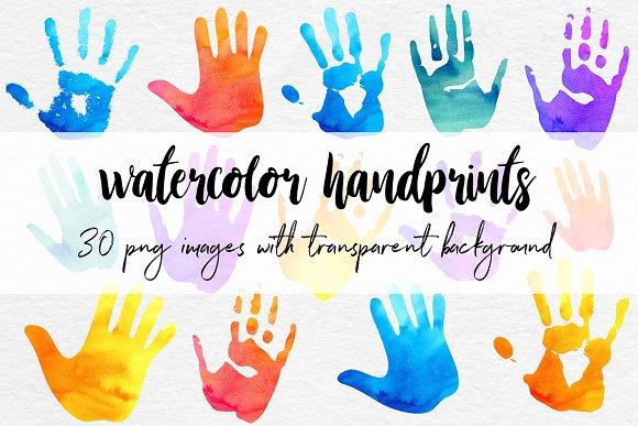Watercolor Handprint Clipart