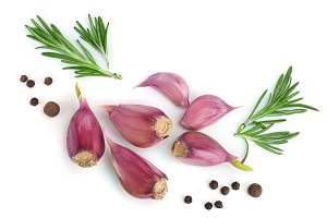 garlic with rosemary and peppercorn isolated on white background with copy space for your text. Top view. Flat lay