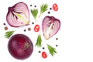 red onions with rosemary and peppercorns isolated on white background with copy space for your text. Top view. Flat lay