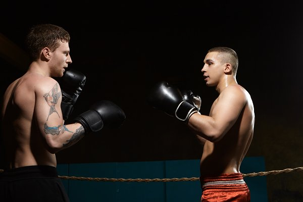 Sports Stock Photos: Anatoliy Karlyuk - People, sports, MMA and martial arts concept. Sideways portrait of two young athletic Caucasian men with naked sweaty muscular torso fighting, standing opposite each other inside boxing ring