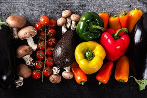 banner of fresh vegetables on the table, bright multi-colored or