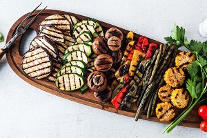 banner of healthy summer food. a wide variety of sliced Grilled