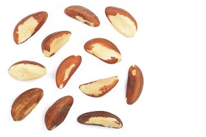 Brazil nuts isolated on white background closeup with copy space for your text. Top view. Flat lay