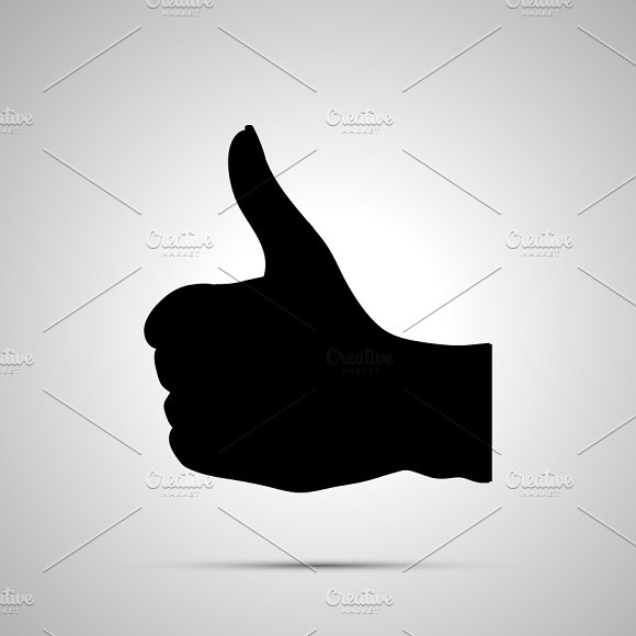 Silhouette Of Hand In Thumbs-up Gest