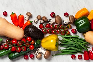 Organic food background. Food photography different fruits and v