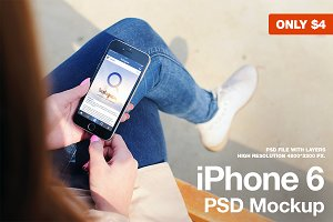 iPhone 6 Black PSD Mockup