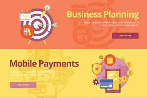 Flat Business and FInance Concept