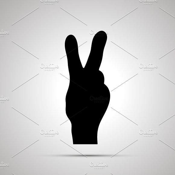 Silhouette Of Hand In Victory Gestur