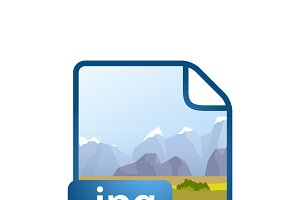Blue file icon with JPG extension