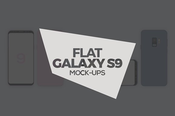 Flat Galaxy S9 S9 Plus Mock-Ups