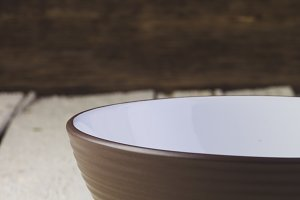 Brown and white salad bowl