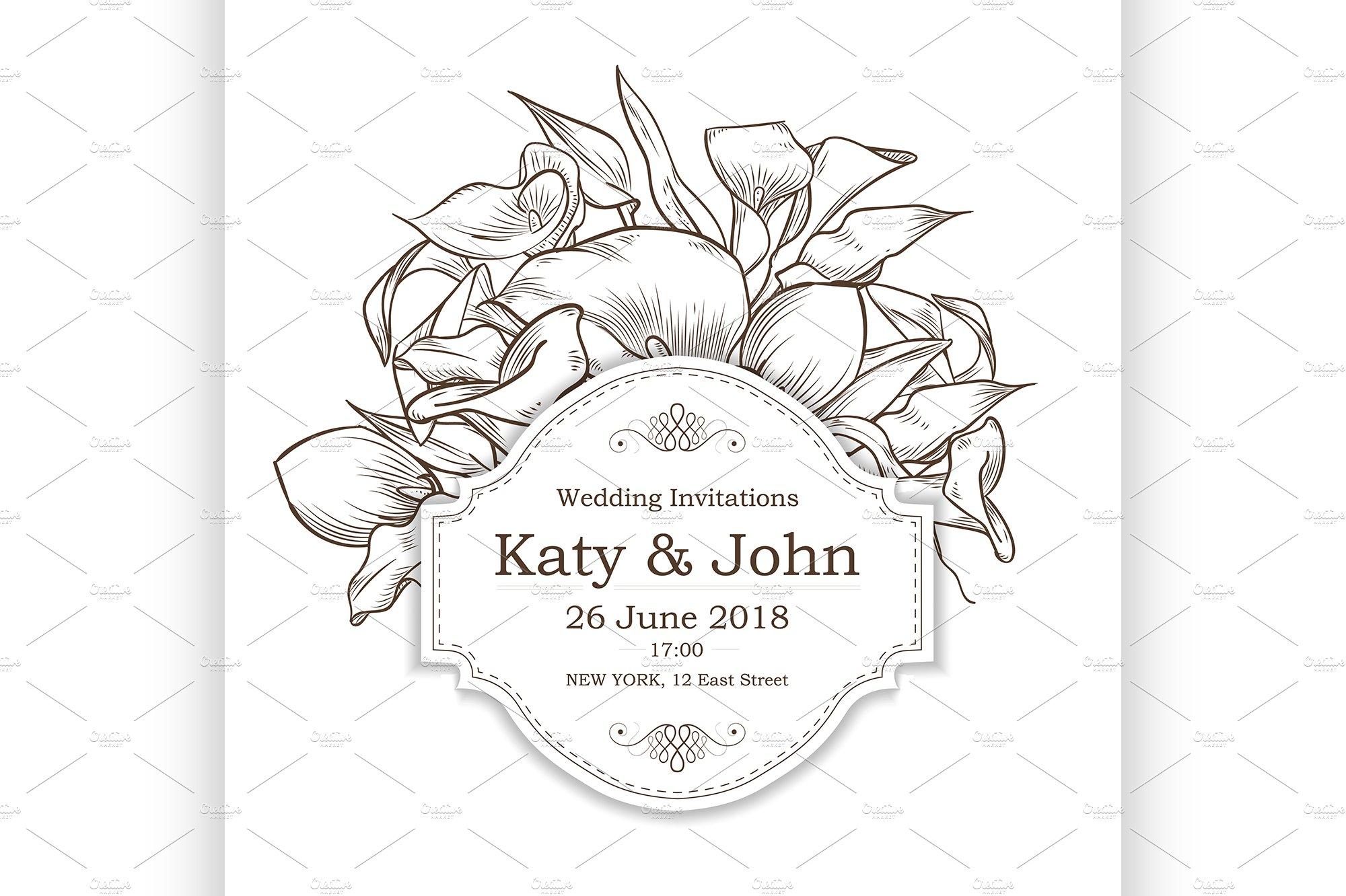 Vector Invitation With Callas Flower Illustrations Creative Market