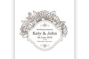 invitation with chrysanthemum flower
