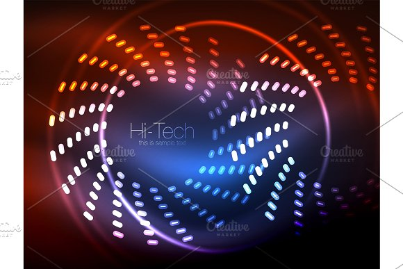 Glowing Neon Dotted Shape Abstract Background Technology Shiny Concept Design Magic Space Geometric Background