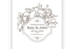Vector invitation with orchid