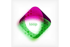 Vector square loop business symbol, geometric icon created of waves, with blurred shadow