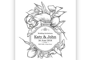 Vector invitation with callas flower