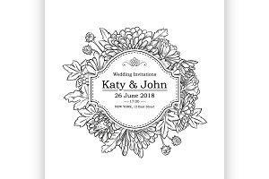 invitation with chrysanthemum