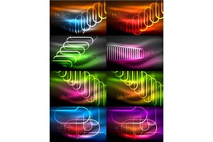 Set of glowing ellipses dark background, waves and swirl, neon light effect, shiny vector magic effects