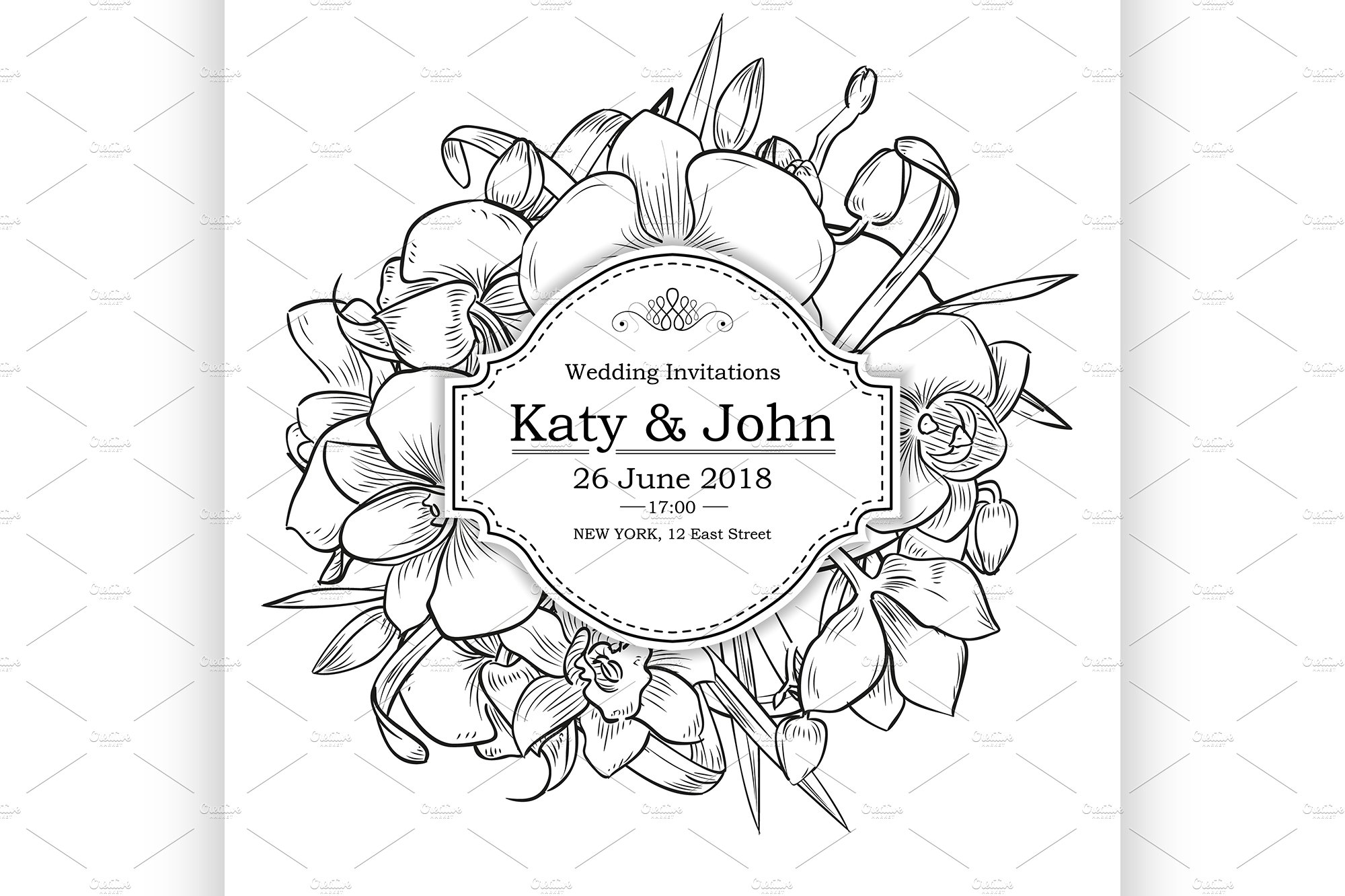 Vector invitation with orchid flower ~ Illustrations ~ Creative Market