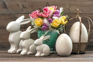 Easter decoration with bunnies