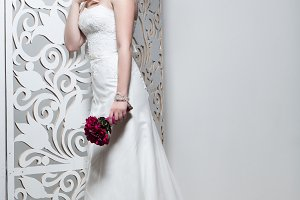 beautiful girl in wedding gown