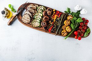 healthy summer food. a wide variety of sliced Grilled Veggies. T