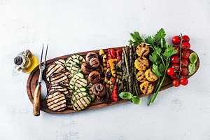 a large portion of colored grilled vegetables a large portion of