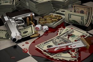 Gun, brass knuckles, blood and money