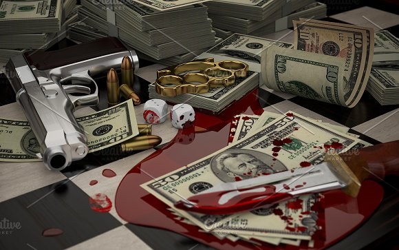 Gun Brass Knuckles Blood And Money