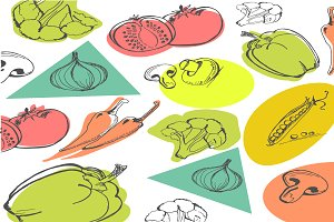Hand drawn vegetables, food concept
