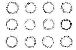 Set of hand drawn wreaths, vector