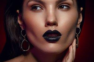 beautiful girl with black lips