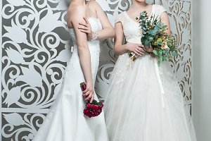beautiful girls in wedding gown