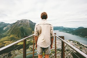 Exploring Norway Man traveler
