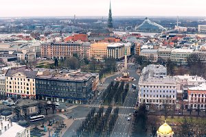 Riga view from the air, freedom monument, National Library