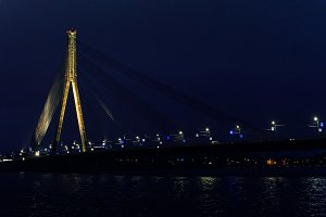 Night illumination of the bridge Riga Latvia