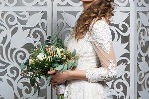beautiful girl in wedding gown