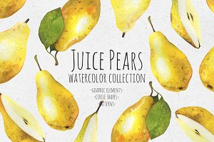 Juice pears. Watercolor collection
