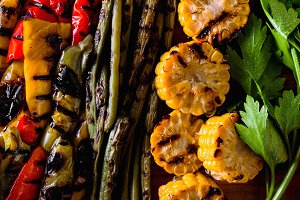 food background of vegetables on the grill . healthy summer food