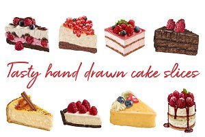 20 hand drawn vector cake slices