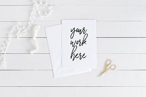 A5 Invitation Card Mockup + Envelope