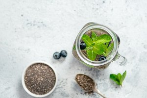 mint and blueberry chia water in mason jar