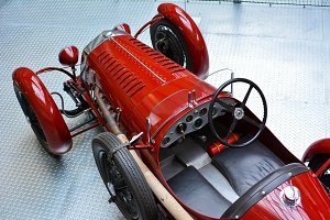 Old red vintage car